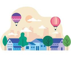 City houses with hot air balloons, trees, sun and clouds vector design