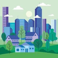 City landscape with buildings, houses, trees, clouds and sun vector design