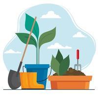 pala de jardinería, botas y plantas dentro del diseño vectorial de cubo y maceta vector