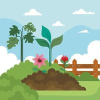 Jardinería de flores en la tierra, plantas, arbustos y diseño vectorial de vallas. vector
