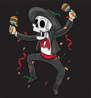 mexican skeleton happy dance vector