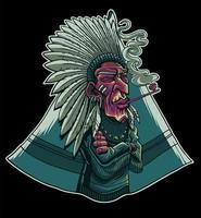 indian chief smoking vector