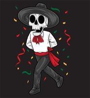mexican sekeleton dancing vector