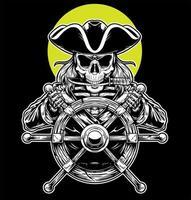capitán pirata esqueleto vector