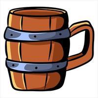 Wooden mug Alcohol mug Bar Tavern Cartoon style vector
