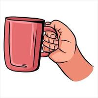 Cup with tea in hand A fragrant cup of tea for breakfast A restaurant Cartoon style vector