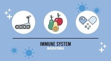 immune system booster with healthy food and capsule vector
