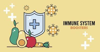 Escudo de refuerzo del sistema inmunológico con partículas de covid19 y vegetales. vector