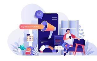 Digital marketing flat landing page vector