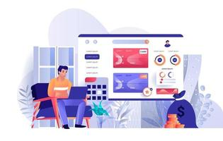 Online banking flat landing page vector