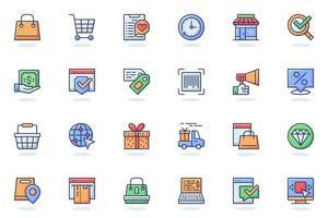 icono de línea plana web de comercio electrónico vector