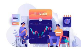 Cryptocurrency marketplace flat landing page vector