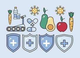 immune system booster shields with healthy food and set icons vector