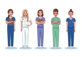 Five nurses standing vector