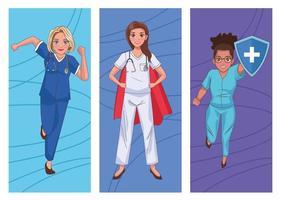 Doctors as heroines vector