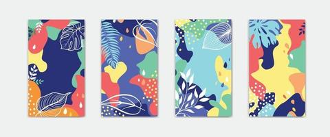 Set of abstract floral background designs for summer holiday with leaves Advert card templates for summer sale social media promotion vector
