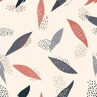 Abstract modern leaves with dots flat seamless pattern vector