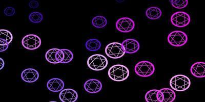 Fondo de vector rosa púrpura oscuro con símbolos misteriosos