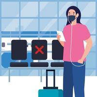 Nueva normalidad de mujer con máscara, boleto y bolso en el diseño del vector del aeropuerto