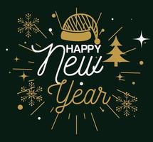 Feliz año nuevo con diseño de vector de sombrero y copos de nieve