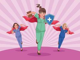 doctors and nurses as heroines vector