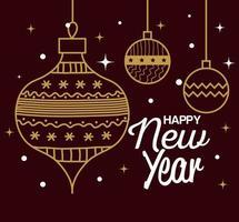 feliz año nuevo con diseño vectorial de esferas vector