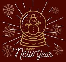 Feliz año nuevo con muñeco de nieve en diseño vectorial de esfera vector