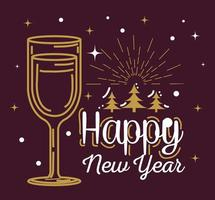 Happy new year with cup and pine trees vector design