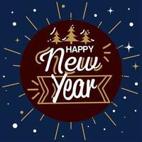 Feliz año nuevo con pinos en diseño de vector de sello de sello