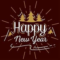 Happy new year with pine trees and mountains vector design