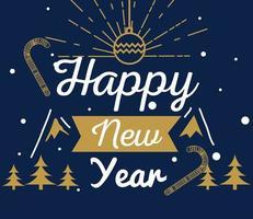feliz año nuevo con pinos y diseño vectorial de esfera vector
