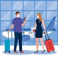 Nuevo normal de mujer hombre con máscara, teléfono inteligente, pasaporte y bolsos en el diseño vectorial del aeropuerto vector