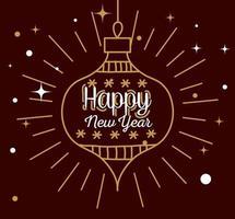 feliz año nuevo con diseño vectorial de esfera vector
