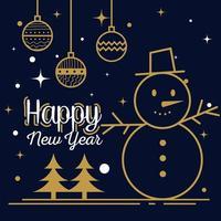 Feliz año nuevo con esferas de muñeco de nieve y diseño vectorial de pinos vector
