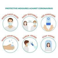 Protective prevention measures against coronavirus Covid 19 vector