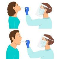 Coronavirus testing carried out by a medical professional  doctor or nurse vector