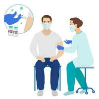 Coronavirus vaccination Doctor or nurse in protective medical mask injecting a patient vector