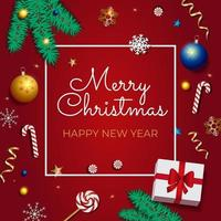 Red Christmas Background with realistic Border of Xmas and New Year decoration vector
