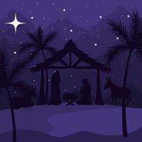 Natividad, María, José, bebé y burros en el diseño de vectores de fondo púrpura