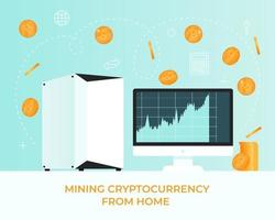 Ability to mining cryptocurrency bitcoin on your computer at home with the help of hard drives vector