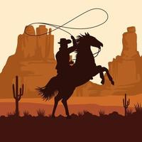 cowboy figure silhouette in horse lassoing in the sunset landscape scene vector
