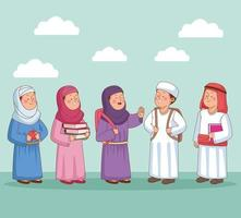 Group of Muslim students vector
