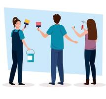 man and women with construction hammer, paint brush and bucket vector design