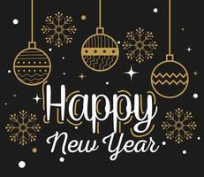 Feliz año nuevo con diseño vectorial de esferas y copos de nieve vector