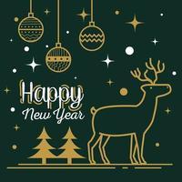 feliz año nuevo con renos y esferas de diseño vectorial vector