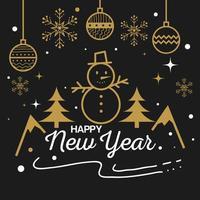 feliz año nuevo con muñeco de nieve y esferas de diseño vectorial vector