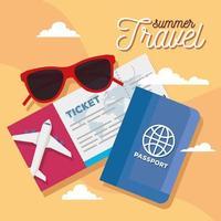 boleto de verano y viaje, gafas y diseño vectorial de pasaporte. vector