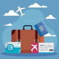 tiempo para viajar, bolso, boleto, pasaporte y diseño de vectores de cámara