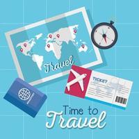 tiempo para viajar, boleto, mapa, pasaporte y diseño vectorial de brújula vector