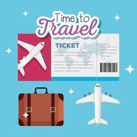 tiempo para viajar, bolso, boleto y diseño vectorial de avión. vector